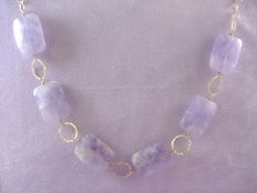 Necklace in gold-plated nephrite and 925 silver