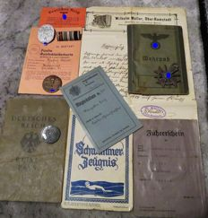 Mixed Lot of IDs, Military ID Card, Medals, WWII, 1933-1945