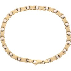 14 kt - Bi-colour gold link bracelet - Length 19.5 cm - No reserve