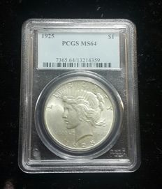 United States - 1 Dollar 1925 'Peace' - Silver