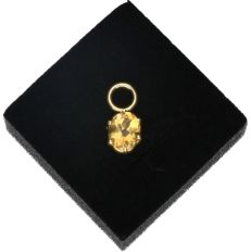 14 kt - Yellow gold pendant set with citrine - Length x width: 1.7 x 0.7 cm