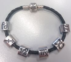 Pandora bracelet with 6 charms - leather - silver - 925 - 17 cm - theme: constellations