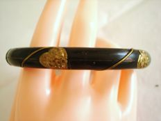 Vintage 1970s - Midnight Black wooden Bangle Bracelet with brass metal filigree details - NO Reserve