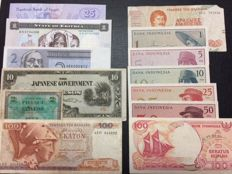 World - 68 different banknotes of the world