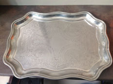 "Antique serving tray, silver plated metal ""Cavalier"" England, mid-20th century"