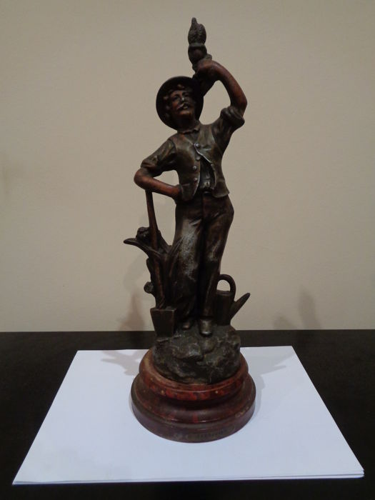 Attributed to Charles Ruchot (Active 1880-1925) - Jardinier statue in blued bronze / spelter / zamac - France - late 19th century - French style, Art Nouveau