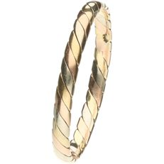 14 kt, Tricolour, white, yellow and rose gold stacking ring. - Ring size 18 mm