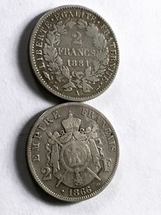 France - 2 francs 1866-BB and 1881A (lot of 2 coins) - silver