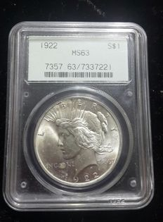 United States - 1 Dollar 1922 'Peace' - Silver