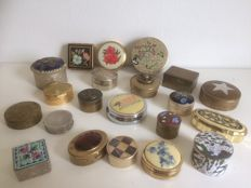 Lot of 21 vintage pill boxes of different materials