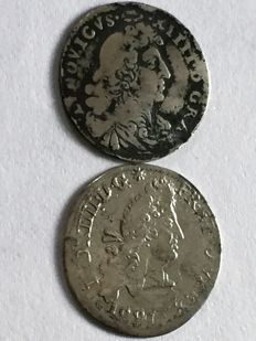 France - Louis XIV (1643 -1715) - 4 Sols 1675 and 1691 (lot of 2 coins) - silver