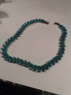 Heavy silver necklace in Navajo-style, set with turquoise,1940