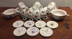 Janneke Brinkman, collection of JBS porcelain, fruit & flowers, coasters, cups & saucers