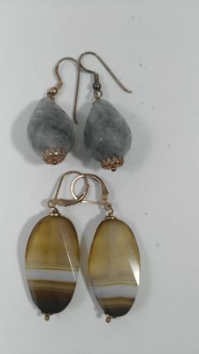 Lot of 2 earrings in .925 silver with natural quartz - No reserve price