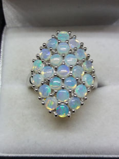Vintage Large Australian Opal Ring Set in Sterling Silver