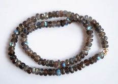 240 carats, 8 mm Labradorite Roundell Faceted Necklace with 14 kt Gold Clasp - 19 inch