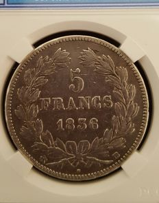 France - 5 Francs, 1836 BB (Strasbourg) - Louis Philippe - silver