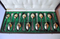 Box of 12 teaspoons in silver and gold metal (stamps)