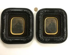 "pair of ""Panotype"" photographs (portraits) circa 1860 with matching sculpted frames made of blackened pear wood, vintage glass"