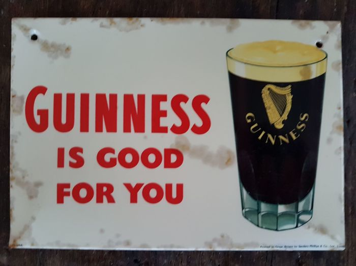 Guinness beer metal advertising sign - 1946 - signed
