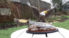 Beautiful Eagle's hunting knife displayed on a plinth, knife