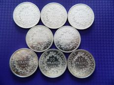 France - 10 Francs 1966/1969 'Hercule' (lot of 8 coins) - silver