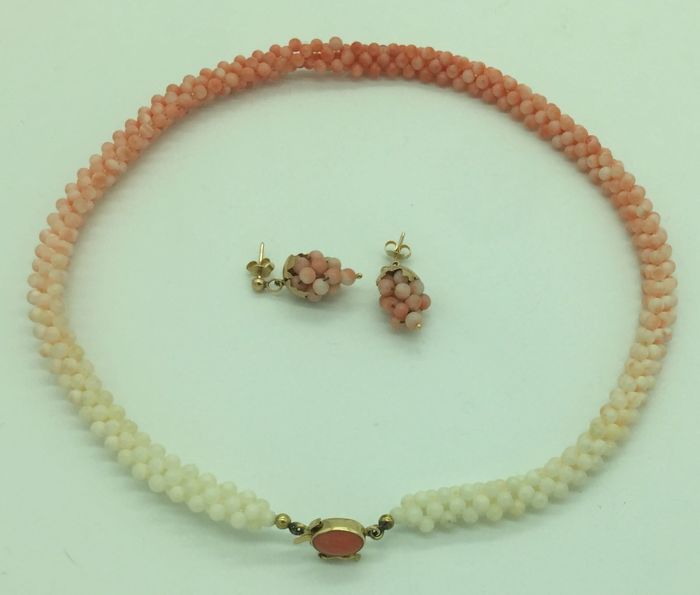 750-Gold and Colour-Graduated Tessito Coral Necklace and Earring Set