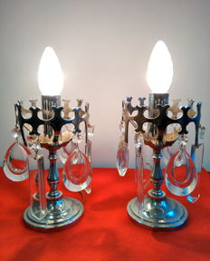 Unknown designer - Pair of table lights in chromed steel with crystal droplets