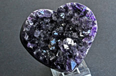 First quality uruguayan Amethyst heart - 9.9 X 9.5 X 5 cm - 464 gm