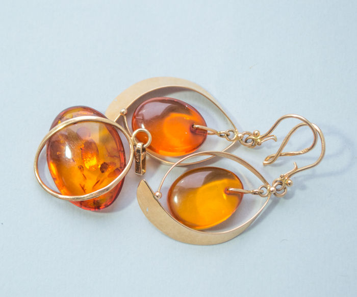 14 kt. Amber, Gold - Earrings, Pendant, Other - Natural (untreated)