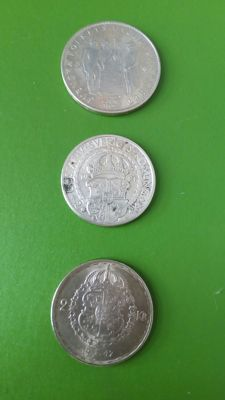 Sweden, 1921, 1947 and 1959 - Gustav V and VI, 2 and 5 Crown, - Silver