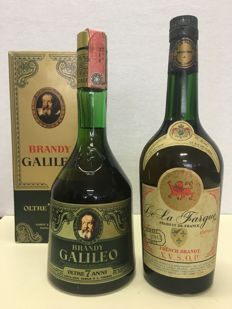 1969 Brandy Riserva Galileo special limited & De La Fargue French Brandy V. V. S. O. P. Nombre 57962 Limité - 2 bottles in total
