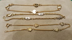 Three children's bracelets in 18 kt yellow gold