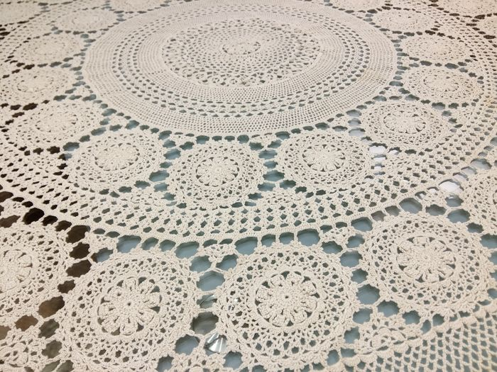 Florence Pure Cotton Round Tablecloth With Crochet Embroidery Diameter 170