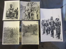 Lot of 5 ethnographic pictures - CHOKWE - Former Belgian Congo