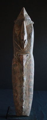 Mindja sculpture of the KWOMA people made from hard garamut wood with traces of some superb painting, from the Washkuk Region of Upper Sepik