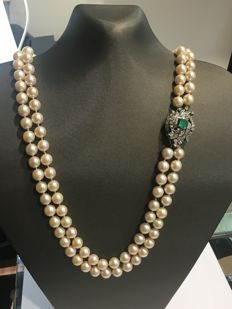 Cocktail - Necklace - Emerald - Pearls