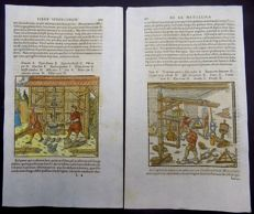 Mining; Georgius Agricola - 2 large woodcuts in hand colour on 2 folio leafs - Separating silver from copper - ca. 1580