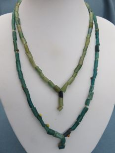 Roman Empire - necklaces with green and blue iridescent glass beads - length 35 cm - 39 cm