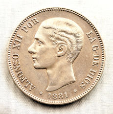 Spain – Alfonso XII – 5 pesetas silver coin – 1881 – Madrid.