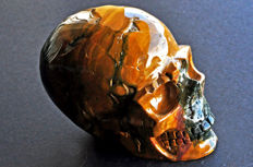 Finely detailed Ocean jasper skull - 10.3 X 7.7 X 6.1 cm - 691 gm