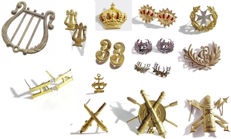 Collection of Military Emblems and Badges from the End of the 19th Century and Beginning of the 20th. Spanish army. Period of Alfonso XII and Alfonso XIII