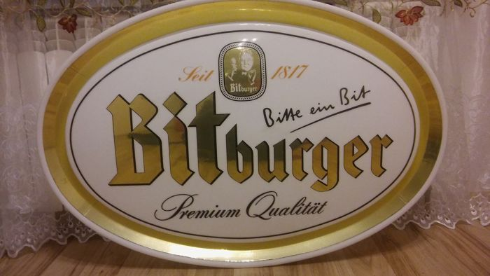 BITBURGER - big beer advertisement. Owal 98 / 67cm, thickness 7cm. Extruded 3D. To hang on the wall. Good condition .