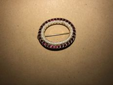 Antique garnet seedbeads pendant USA circa 1920