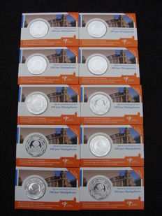 "Netherlands - 5 Euro 2011 ""100 years Muntgebouw"" with booklet (10 pieces) in coin cards."