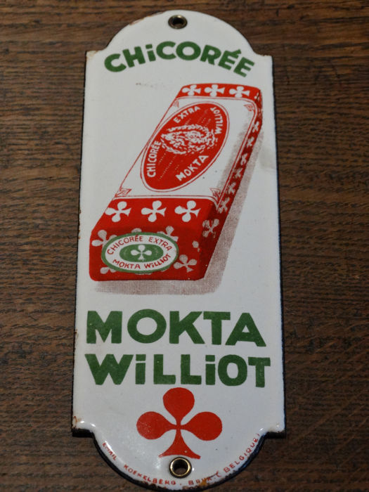 Enamelled old and original door post sign of Chicorée Mokta Williot - ca. 1930s