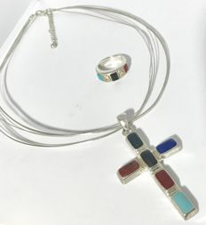 Navajo Sterling Silver Cross Pendant Necklace & Ring