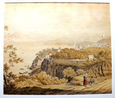 Daniël Dupré (1751-1817)- A view of Sorrento, with Vesuvius across the bay and two travellers resting in the foreground - No reserve price