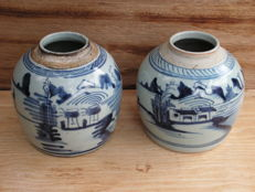 2 ginger pots - China - 19th century