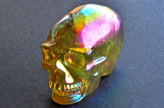 Unusual intense yellow green Aura Quartz skull - 8.3 X 6 X 4.9 cm - 361 gm